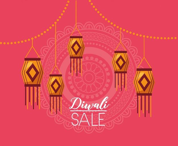 Cartão de venda de diwali com lâmpadas penduradas celebração