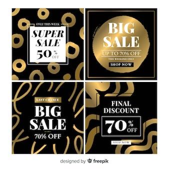Cartão de venda de preto e ouro