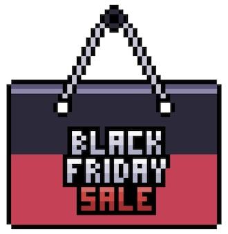 Cartão de venda, preço e desconto de pixel art preto sexta-feira. item de bit