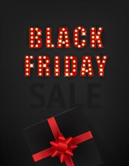 Cartão de venda sexta-feira preta estilo retro
