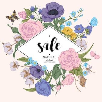 Cartão de venda vector floral vintage com rosas, anêmonas e butterf