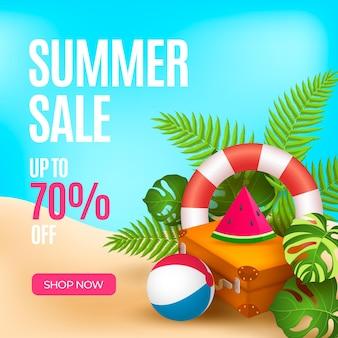 Cartão de venda verão realista