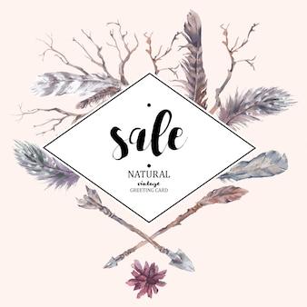 Cartão de venda vintage com ramos e suculentas