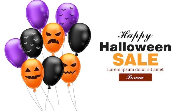 Cartão de vendas de feliz dia das bruxas com balões coloridos