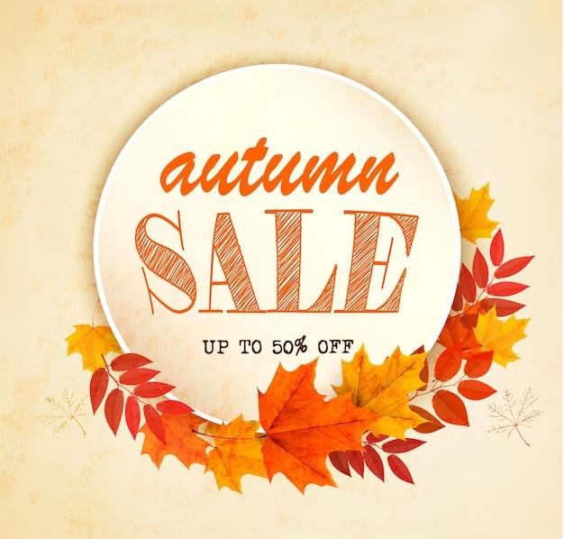 Cartão de vendas de outono com folhas coloridas. vetor.