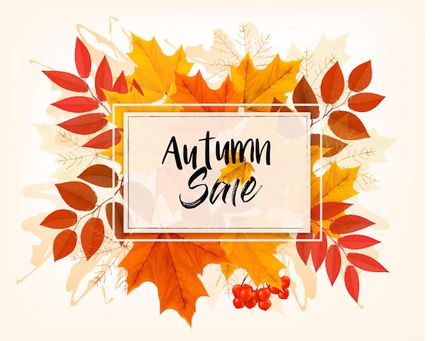 Cartão de vendas de outono com folhas coloridas. .