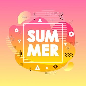 Cartão de verão abstrato com fundo gradiente rosa