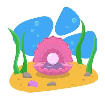Cartão de verão. cartão postal. vetor. o fundo do mar. uma pérola em uma concha aberta