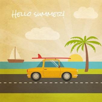 Cartão de verão com carro à beira-mar