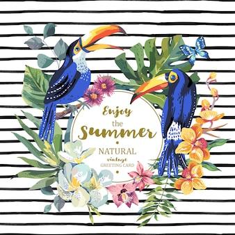 Cartão de verão com par de tucano e flores exóticas