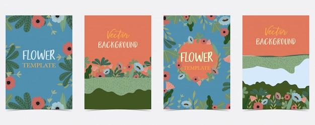 Cartão de verão desenhada mão azul, laranja, verde com flor e folha