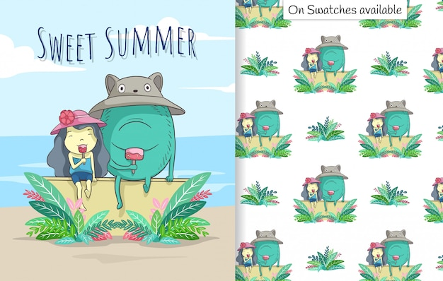 Cartão de verão e padrão sem emenda com uma mão desenhada de uma linda garota e seu amigo tomando sorvete