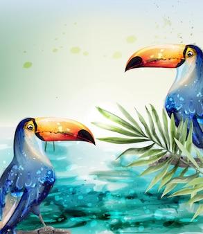 Cartão de verão exótico trópico aquarela de tucano
