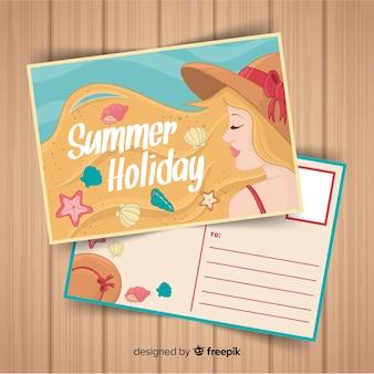 Cartão de verão garota loira mão desenhada