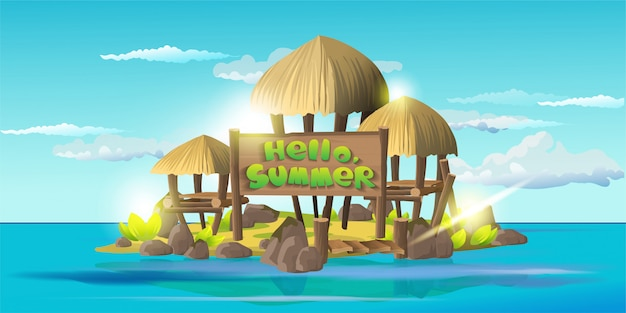 Cartão de verão helli. pequena ilha tropical com barracos simples, casas de madeira com telhados de colmo. ilha com a vila de selvagens e títulos olá, verão. superfície do céu azul e oceano