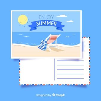 Cartão de verão listrado mão desenhada cadeira