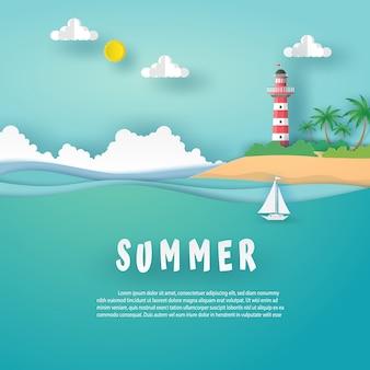 Cartão de verão no formato de paisagem com farol vermelho - branco na ilha, mar, nuvens e barco branco no mar acena. conceito de arte de papel de desenho de vetor.