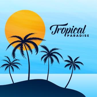 Cartão de verão paraíso tropical