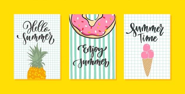 Cartão de verão vetor definido com caligrafia. mão desenhada letras modernas.