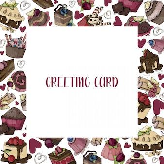 Cartão de vetor com alimentos doces, bolos, muffins