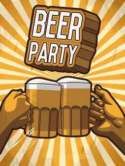 Cartão de vetor com as mãos segurando uma caneca de cerveja