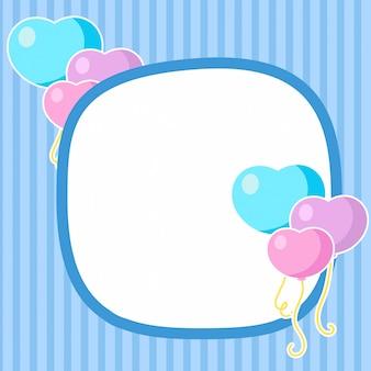 Cartão de vetor com balões de corações vermelhos