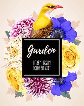 Cartão de vetor com flores no jardim e um bir