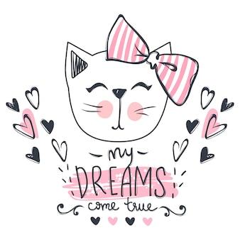 Cartão de vetor com gato bonito da moda. gatinho elegante.