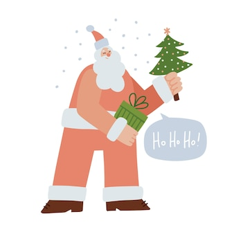 Cartão de vetor com papai noel segurando a caixa de presente e o personagem da moda da árvore do abeto com cabeça pequena.