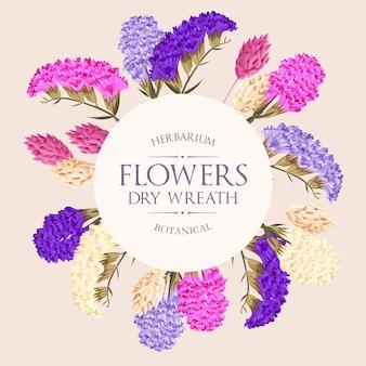 Cartão de vetor com rosas e flores secas