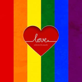 Cartão de vetor de arco-íris com coração comemorar a igualdade do amor