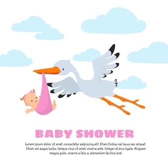 Cartão de vetor de chuveiro de bebê com cegonha carregando o bebê