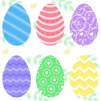 Cartão de vetor de páscoa, ovos de páscoa na grama em cores brilhantes. ilustração vetorial