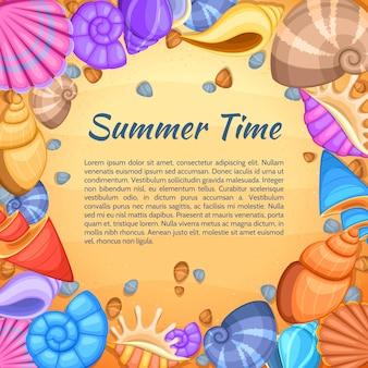 Cartão de vetor de viagens de verão com borda de concha do mar dos desenhos animados. banner de horário de verão com quadro de shell e ilustração de areia de praia
