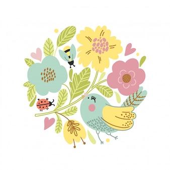 Cartão de vetor dos desenhos animados com pássaro bonito