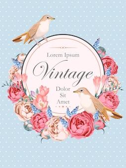 Cartão de vetor em estilo vintage com rouxinóis e flores no jardim