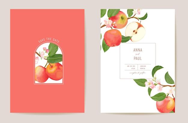 Cartão de vetor floral de maçã de casamento, fuits exóticos, flores, convite de folhas. quadro de modelo em aquarela. capa de folhagem botânica save the date, pôster moderno, design moderno, plano de fundo luxuoso