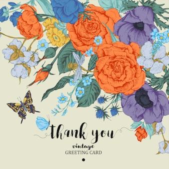 Cartão de vetor floral vintage com rosas, anêmonas e borboleta