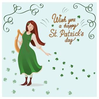 Cartão de vetor para o dia de st. patricks. uma garota com uma harpa.