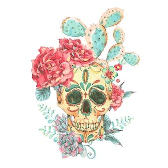 Cartão de vetor vintage com caveira e rosas