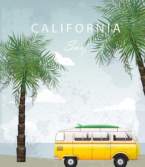 Cartão de viagem de verão da califórnia com carro de campismo