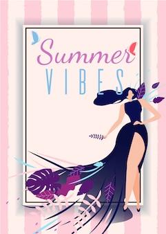 Cartão de vibrações de verão com desenhos animados mulher bonita ...