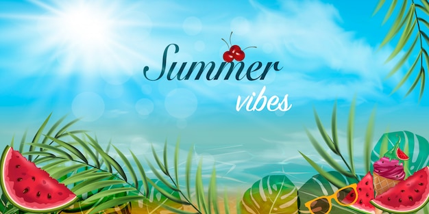 Cartão de vibrações de verão