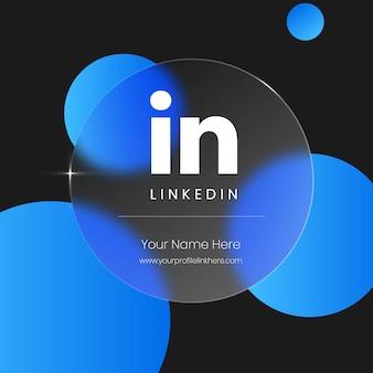 Cartão de vidro transparente borrado do linkedin para mídia social
