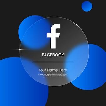 Cartão de vidro transparente borrado para redes sociais