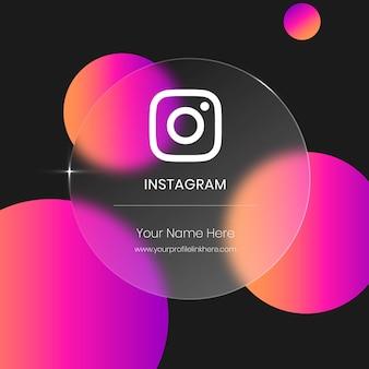 Cartão de vidro transparente desfocado do instagram para redes sociais