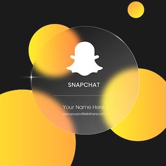 Cartão de vidro transparente embaçado snapchat para mídia social