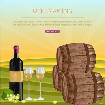 Cartão de vinho com barris e garrafa
