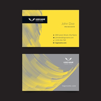 Cartão de visita abstrato amarelo e cinza