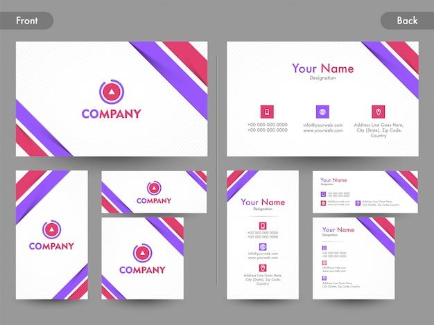 Cartão de visita abstrato criativo, cartão de visita ou cartão de nome com a vista da página anterior e posterior.